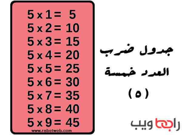 جدول الضرب 5
